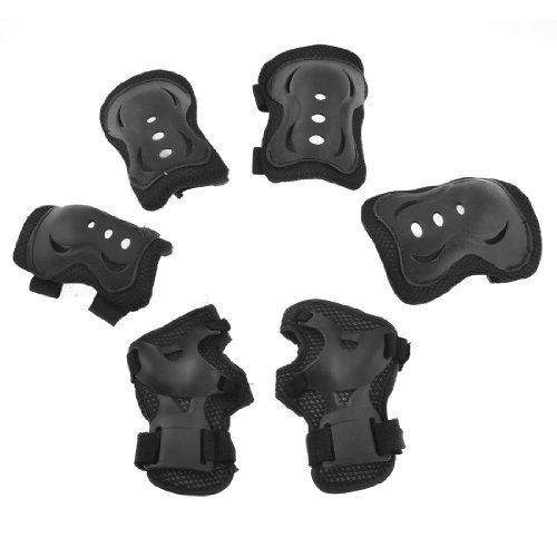 Dimart Sports Black Elbow Knee Palm Padded Support Guard Brace 3 Pair 7pcs xiaomi skating cycling helmet knee pads elbow wrist brace set