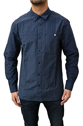 Foray-Camicia da uomo a maniche corte, motivo passeggiata Caual-Maglia a maniche lunghe blu navy Large