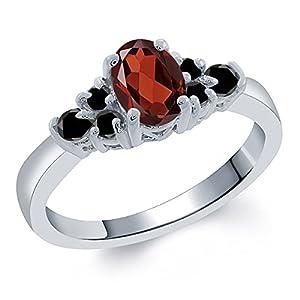 0.75 Ct Oval Red Garnet Black Diamond 925 Sterling Silver Ring