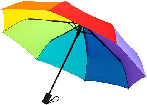 """60mph antivento Ombrelli di viaggio: garantita a vita ricambio programma """"chiusura automatica Auto Open Compact ombrelli non si rompe se la Inside Out-Un servizio clienti Supported prodotto, Rainbow (nero) - TU-200"""