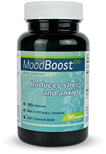 Mood Boost 100 Natural Stress And Anxiety Relief 60 Vegetarian Capsules With 5-htp Passion Flower L-tyrosine And L-theanine from LES Labs