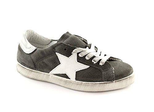 DIVINE FOLLIE 21-101 grigio bianco scarpe donna sportive sneakers lacci pelle 37