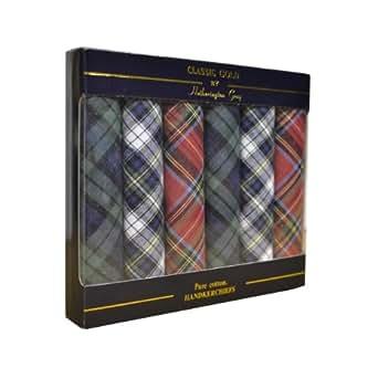6 paquets de mouchoirs homme mis en boîte 100% tissu coton