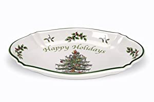 #!Cheap Spode Christmas Tree Happy Holidays Tray