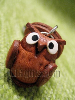 * OWL * Mini Zodiac 3D Animal Key chains VANCA Craft Petit Mascot Leather