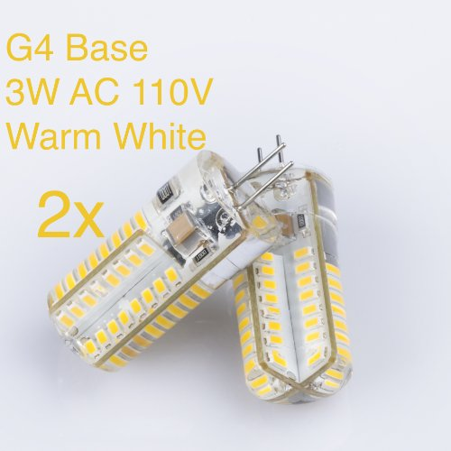 Weanas ® 2X G4 Base 64 Led Light Bulb Lamp 3 Watt Ac 110V Warm White Undimmable Equivalent To 20W Incandescent Bulb Replacement
