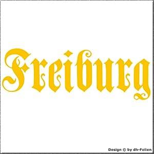 cartattoo4you AK-01584 | FREIBURG - Fraktur / Altdeutsche Schrift | Autoaufkleber Aufkleber FARBE gelb , in 23 weiteren Farben erhältlich , glänzend 17 x 5 cm in PREMIUM - Qualität Waschstrassenfest VERSANDKOSTENFREI