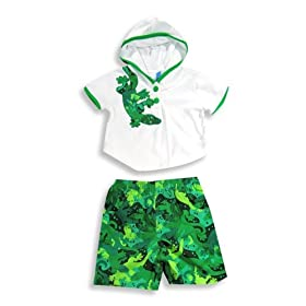 Isababies - Infant Boys Bathing Suit And Coverup, Green, White