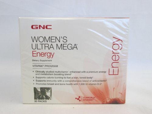 Gnc Women'S Ultra Mega Energy, Vitapak Program, Dietary Supplement: 30 Packs- Sms18