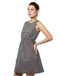 XnY Women's Pleated Dress (DR 91837 XY_Grey_12)