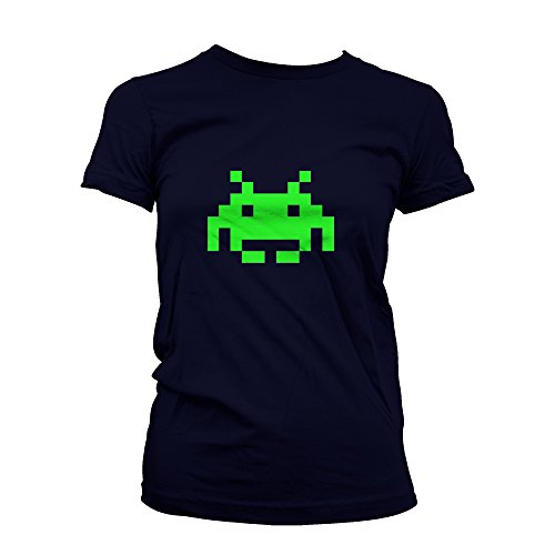 Green Space Invader Ladies Slim Fit T-Shirt Navy Small