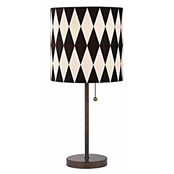 bronze pull chain drum table lamp with harlequin patterned. Black Bedroom Furniture Sets. Home Design Ideas