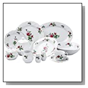 Lynns Victorian Rose 49-Piece Dinnerware Set, Service for 8