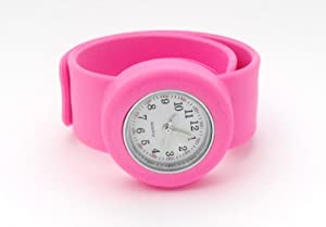 Girls Small Pink Snapslap On Watch Hypo Allergenic Fits Any Size Wrist by SS.Com