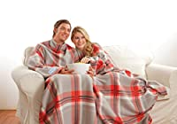 Snuggie 71-Inch-by-54-Inch Soft Fleece Blanket with Sleeves and Pockets, Red Plaid from Snuggie