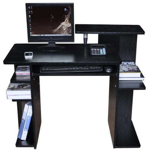 Office Workstation / Computer Desk - Generous Storage - Black Finish.