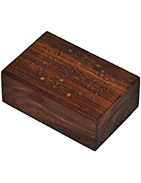 Marubhumi Mother's Day Gift Classic Natural Wooden Keepsake Box Hand Carved Organizer With Velvet