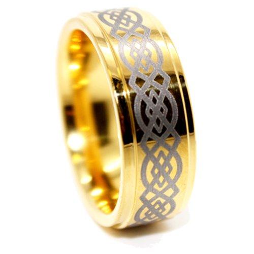 9mm Tungsten Golden Celtic Men's Wedding Rings Men's Engagement Bands Designer Rings (Available in Whole & Half Sizes 4.5-17) (15)