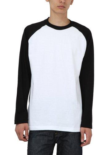 (プリントスター)Printstar ラグラン長袖Tシャツ 00139-RLS 705 ホワイト×ブラック L