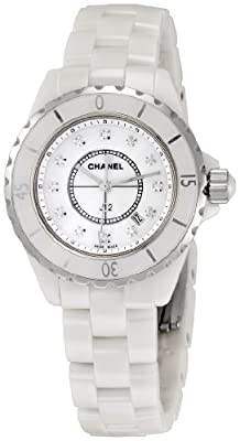 Chanel Men's H1628 J12 Diamond White Dial Watch