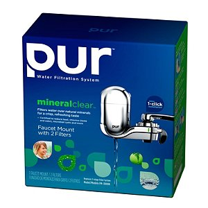 PUR Faucet Mount Water Filter with 2 Filters and Water Bottle