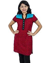 Simply Sapnaa's Women's Cotton Printed Half Sleeve Kurti (Rust)