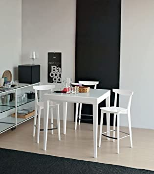 O&G Calligaris Stool Evergreen White Lacquered