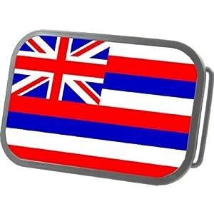 Hawaii Country Flag Metal Grey Belt Buckle