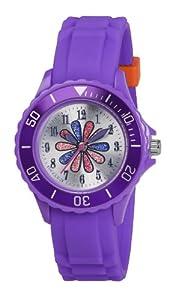 Tikkers TK0053 - Reloj analógico de cuarzo para niña con correa de caucho, color morado