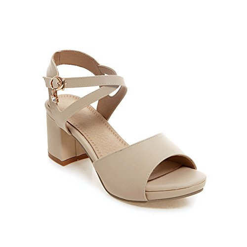 Lucksender Womens New Summer Casual Style Chunky Middle Heel Sandals 7B(M)US Beige