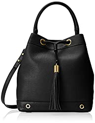 MILLY Astor Drawstring Bucket Handbag, Black, One Size,Black,One Size