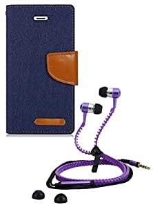 Aart Fancy Wallet Dairy Jeans Flip Case Cover for NokiaN520 (NavyBlue) + Zipper Earphones/Hands free With Mic *Stylish Design* for all Mobiles- computers & laptops By Aart Store.