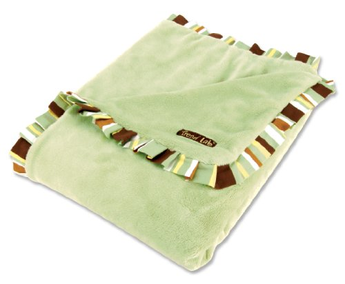 Trend Lab Receiving Blanket in Sage Velour with Giggles Stripe Ruffle - 1