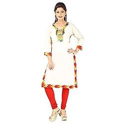 AnjuShree Choice Women's Off-White Cotton Stitched Straight Kurta Kurti (X-Large)