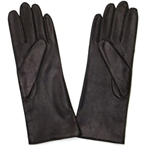 Fownes Women's Cashmere Lined Brown Lambskin Leather Gloves 6.5/S