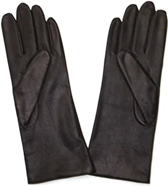 Fownes Women's Cashmere Lined Brown Lambskin Leather Gloves 6/XS