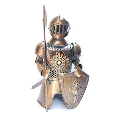 """Metal Medieval Knight Armor with Spear Axe and Shield Bottle Cover, Wine Holder, 13"""" Tall"""