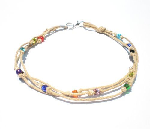 Multicolor Glass Beaded Three String Hemp Anklet