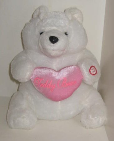 DanDee Collector's Choice Animated - LIGHTS UP & SOUND White Valentine Teddy Bear Plush - Sings: I Just Want to be your Teddy Bear