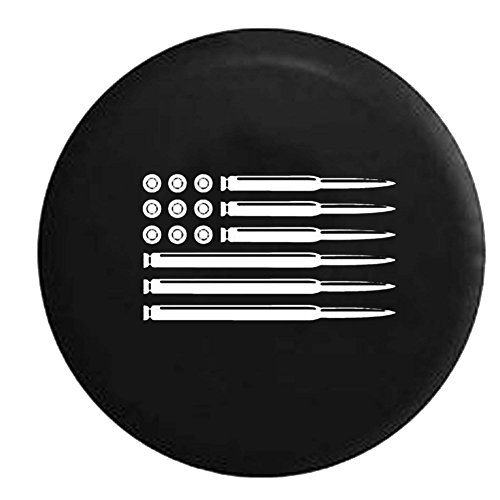 AR15 Rifle American Flag Military Gun Hunting Jeep Spare Tire Cover OEM Vinyl Black 34-35 in (Jeep Tire Cover 35 Inch compare prices)