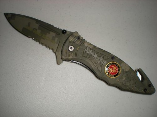 "Digital Camo U.S. Marines ""Take Down Al-Qaeda"" Assisted Rescue Pocket Knife"
