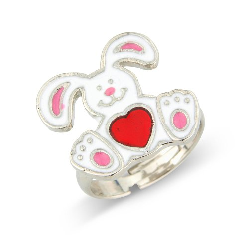 White rabbit childrens ring with red heart tumy - matching necklace and earrings available - will arrive in gift bag