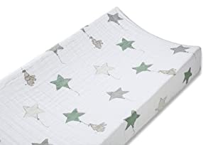 aden + anais Classic Muslin Changing Pad Cover, Up, Up & Away - Elephant