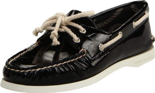 SPERRY A/O 2 EYE BLACK PATENT WOMENS BOAT SHOES Size 9.5M