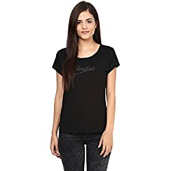 Candies by Pantaloons Women's Cotton T-Shirt (205000005554358_Black_XS)