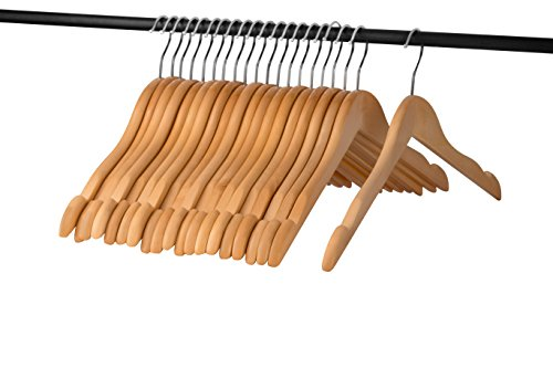 A1 Hangers Natural wooden hangers (Set of 20) High Quality clothes hangers for coat hanger and suit hangers