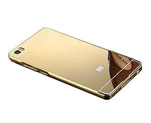 Novo Style Luxury Shiny Bling Glitter Metal Clear Aluminum Frame Cover Ultra Thin Slim Bumper Hard Back Case Cover For Xiaomi Mi 5 - Golden