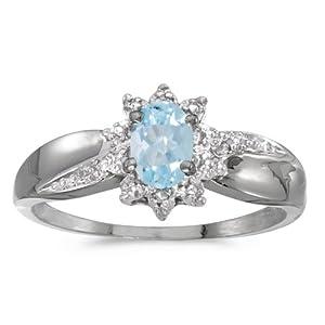 10k White Gold Oval Aquamarine And Diamond Ring (Size 8)