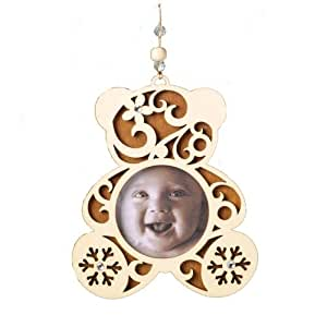 Enesco Flourish Baby's 1st Christmas Picture Frame Ornament, 4-Inch