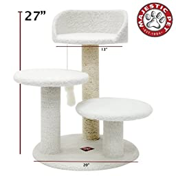 Majestic Pet Products 27 inch Cream Bungalow Cat Furniture Condo House Scratcher Multi Level Pet Activity Tree